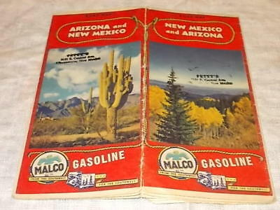 1945 Malco Gasoline New Mexico And Arizona Road Map !!