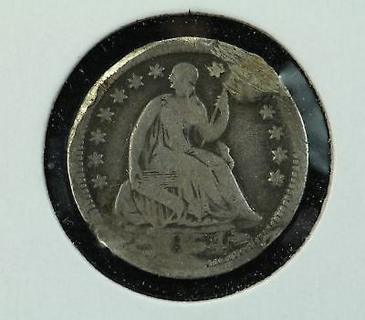 1854 Seated Liberty Half Dime Damaged