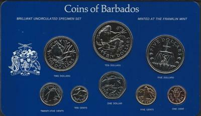 BARBADOS - 1979 8pc specimen set - $1c-$10 - in card of issue - mtg=523