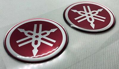 2x Yamaha Roundal Logo Badge 3D Domed Stickers. Silver Red. 50mm diam.