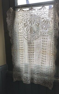 Beautiful Antique French Lace Curtain Panel Handmade Trim To Sides Some Wear