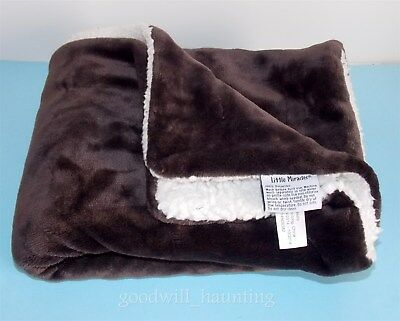 Little Miracles Baby Throw Blanket Brown Velour Cream Sherpa Costco