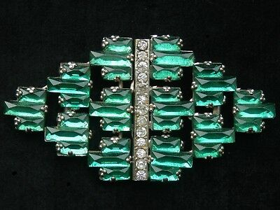 Superb Large Art Deco Green Vauxhall Glass Faceted Geometric Mirror Glass Buckle
