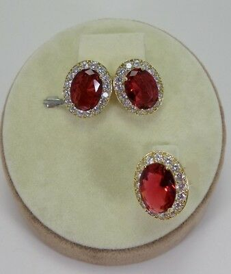 925 Sterling Silver  Turkish Jewelry Ruby Ladies Earring and Pendant Set