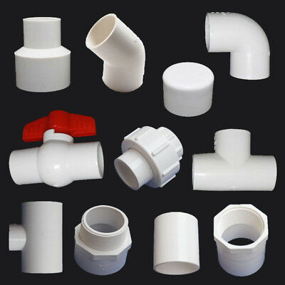 PVC Ball Valve/End Cap/90° Elbow/Tee Connectors Water Pipe Adapter 20/25/32mm