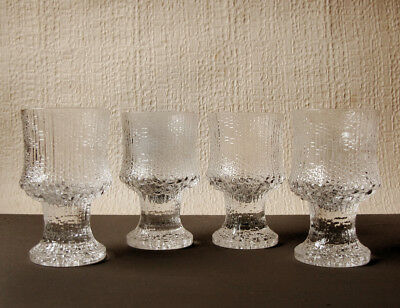 vintage iittala Ultima Thule footed sherry glasses - set of 4 small liqueur cups