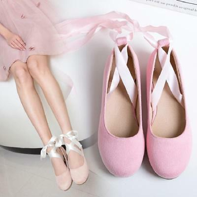 Women's Girl's Sweet Ballerina Strappy Bandage Hot Casual Flats Lace Up Shoes A8