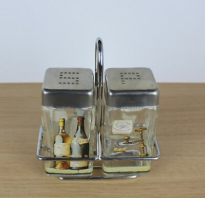 Salt Pepper Pots And Holder Glass Stainless Steel Seasoning Shaker Set