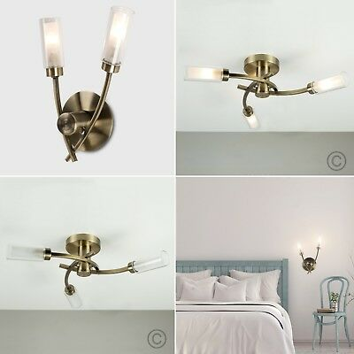 Vintage Antique Brass Metal Ceiling Light Wall Light Fitting LED Bulbs Lighting