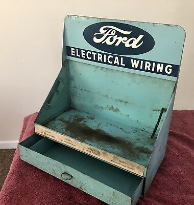 Vintage 1940's ~ Ford Dealership Metal Shop Parts Electrical Cabinet Display Box