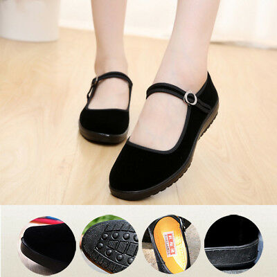 Chinese Traditional Womens Flats Shoes Ballerina Work Velvet Fabric Rubber Sole
