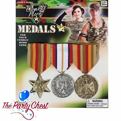 3 COMBAT MEDALS WITH RIBBONS Army Military Soldier Fancy Dress Accessory BA584