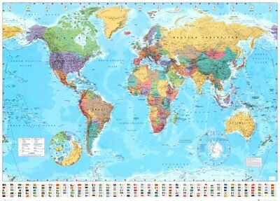 World Map Classic Wall Map (100x140)cm Huge Large Poster Office School