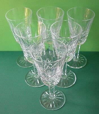 Nice Quality Set Of 6 Signed Waterford Crystal Lismore Cut Sherry Glasses 5-1/8""