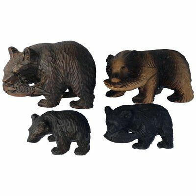 Japanese Old Bears Fine Foursome Hand-Carved Cedar Wood Ainu Peoples