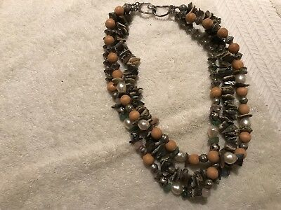 Thick Chunky 3 Strand Nature Necklace Wood Metal Mother Of Pearl Stones Beading