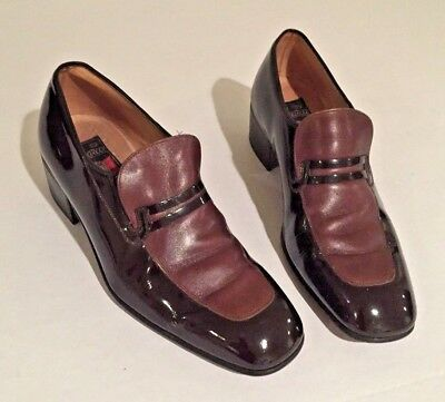 Vintage Florsheim Men's Patent Leather Loafers 2 Tone Brown 8D Exclusive Italy