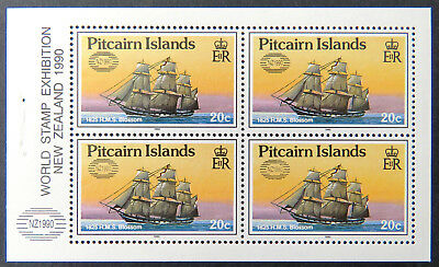 1990 Pitcairn Islands Stamps - Ships-World Stamp Exhibition Overprint 4x20c MNH