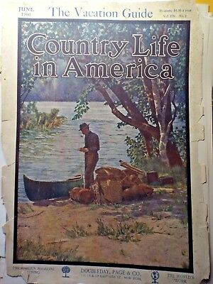 1908 JUNE Country Life In America MAGAZINE COVER ART  Canoe Camping COVER ONLY