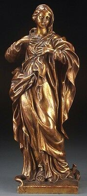 Italian Carved Gilt Wood Virgin Mary Figure, Beautiful Piece, Late 19Th C.