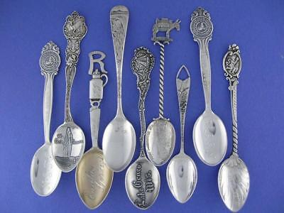 9 Antique Sterling Silver Souvenir Spoons ~ Variety Lot ~ ornate