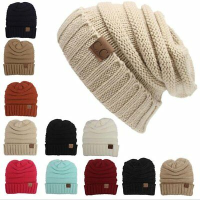 Women Girls Wool Winter Warm Cap Crochet Warm Knit Knitted Soft Beanie Ski Hat