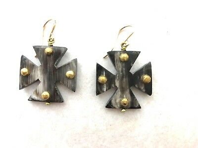 Ashley Pittman New Arba Studded Dark Horn Earrings Maltese Cross Drop MSRP $315