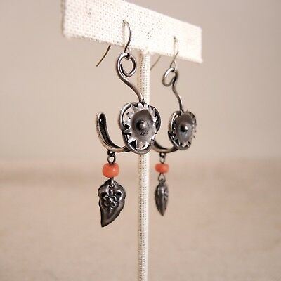 Chinese Sterling Silver Coral Bead Earrings Dangle Antique Vintage Bell Charm