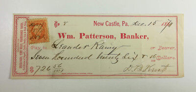 1870 New Castle Pennsylvania William Patterson Bank Check with R15 Revenue Stamp