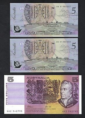 Australia 1991-92 Fraser/Cole $5 Paper & Consecutive Polymer Pair of Banknotes
