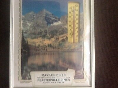 Vintage Feasterville Diner Advertising Themometer Picture 1960s