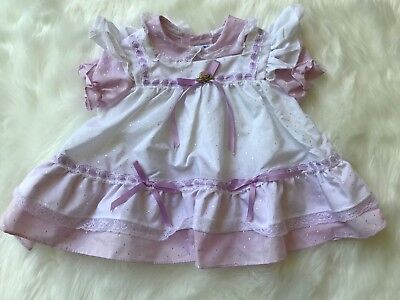 Vintage Baby Girl Dress Purple Lace Apron Flutter Sleeves Bows 12 Months