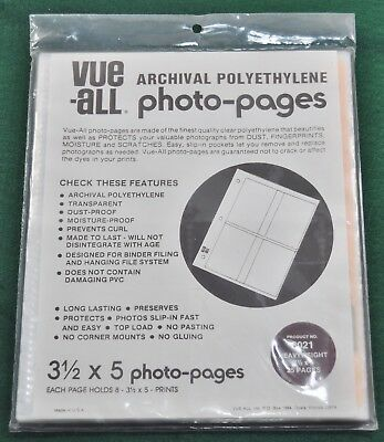 Vue-All Archival - 25 Photo Pages - 3 1/2 x 5, #6021 Heavyweight Pages - New