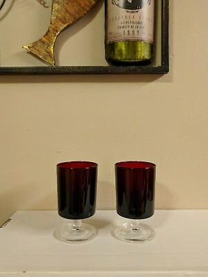 """Set of 2 Luminarc Verrerie D'Arques Ruby Red Footed Glasses 4 1/2"""""""
