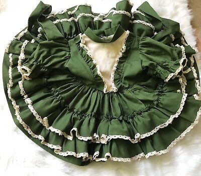 Vintage Martha's Miniatures Southern Belle Full Circle Dress 2T Gold Bell Ruffle