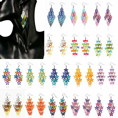 Women Hollow Leaf Flower Butterfly Flower Dangle Eardrop Hook Earrings Jewelry