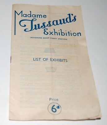 WWII - Madame Tussaud's Exhibition - List of Exhibits - London, 1946