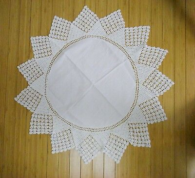 """Vintage 28"""" White Round Crocheted Table Topper Doily"""
