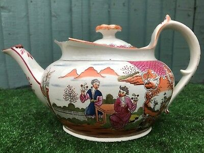 GEORGIAN PERIOD EARLY 19thC NEW HALL, CHINOISERIE PATTERNED TEAPOT c1810s