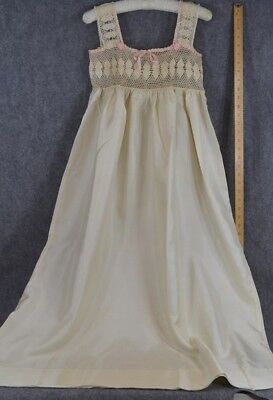 antique nightgown Victorian Edwardian night gown silk lace long original  1900 6dd096c73