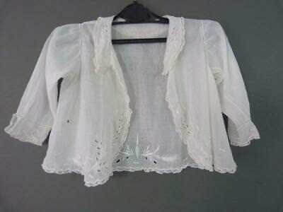 Superb Victorian child's embroidered muslin jacket - great for a large doll