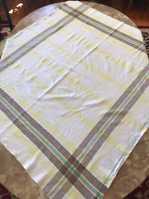 Vintage Retro 70's Plaid Tablecloth, 9 Matching Napkins, White, Brown & Yellow