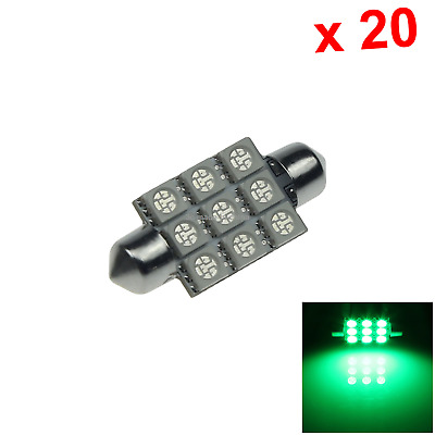 "20x Green AUTO 39MM Festoon Lamp Number plate Light 9 5050 SMD LED 1.5"" I204"