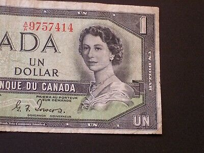 Bank Of Canadian Banknote-1954 One Dollar Devils Hair Note And Cover