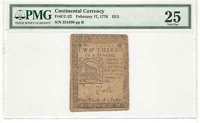 1776 $2/3 Continental Currency Two Thirds of One Dollar FR#CC-22 PMG VF25