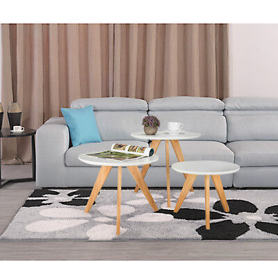3pcs Round Coffee Modern Furniture Side Tables Wooden White Nest of Tables Set