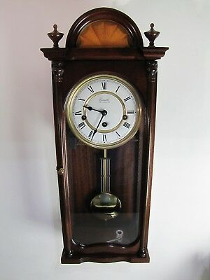 Comitti of London Regency Wall Clock Key Wind Westminster Chime Mahogany Chiming