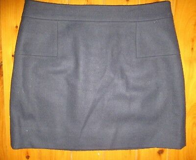 J Crew * Dark Blue Wool Blend Skirt * Size 12 (Us 10) Fully Lined * Free Postage