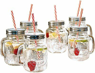 Mason Jar Mugs with Handle and Straws Old Fashioned Drinking Glass Set of 6
