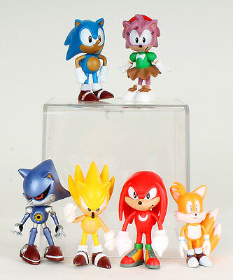 Sonic Figures Hedgehog Classic 6 Set Super Amy Metal Sonic Tails Knuckles figure